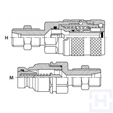 FLAT FACE COUPLING BULKEAD M18X1.5 M