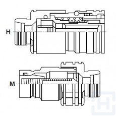 FLAT FACE Q.R. COUPLING M18X1.5-12L M