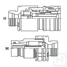 FLAT FACE Q.R. COUPLING M22X1.5-15L M