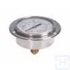 "S.S. PRESSURE GAUGE DN63 REAR CONNECTION 1/4"" BSP 0-25"